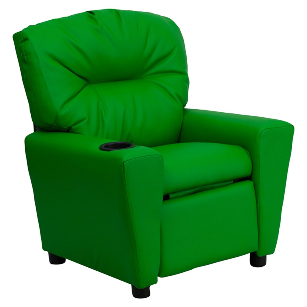 Upholstered Kids Recliner Chair  Cup Holder Green  DCG