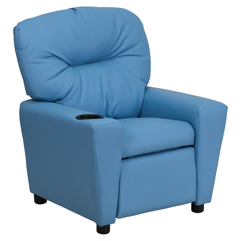 kids recliner chair portable styling upholstered cup holder light blue dcg stores flsh bt 7950