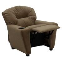 Microfiber Kids Recliner Chair - Cup Holder, Brown | DCG ...