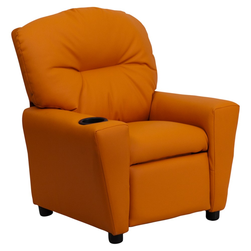 Upholstered Kids Recliner Chair  Cup Holder Orange  DCG