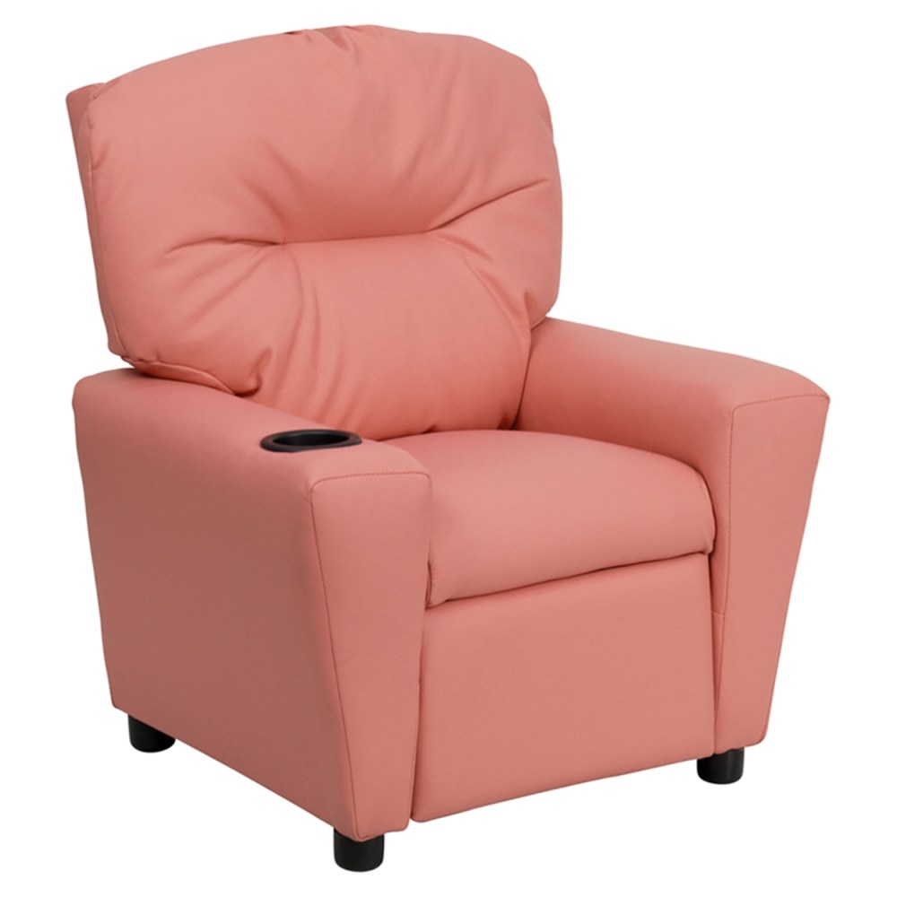 Upholstered Kids Recliner Chair  Cup Holder Pink  DCG