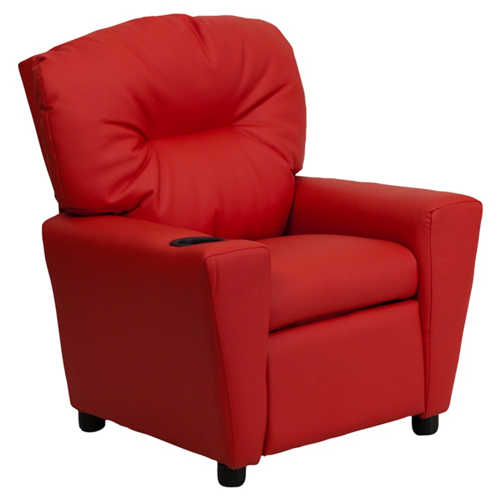 Upholstered Kids Recliner Chair  Cup Holder Red  DCG Stores
