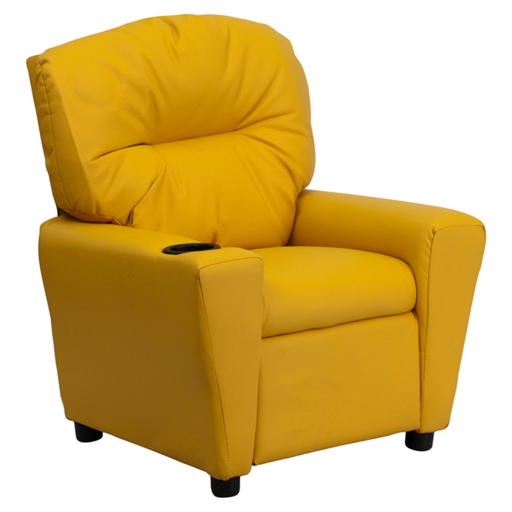 Upholstered Kids Recliner Chair  Cup Holder Yellow  DCG
