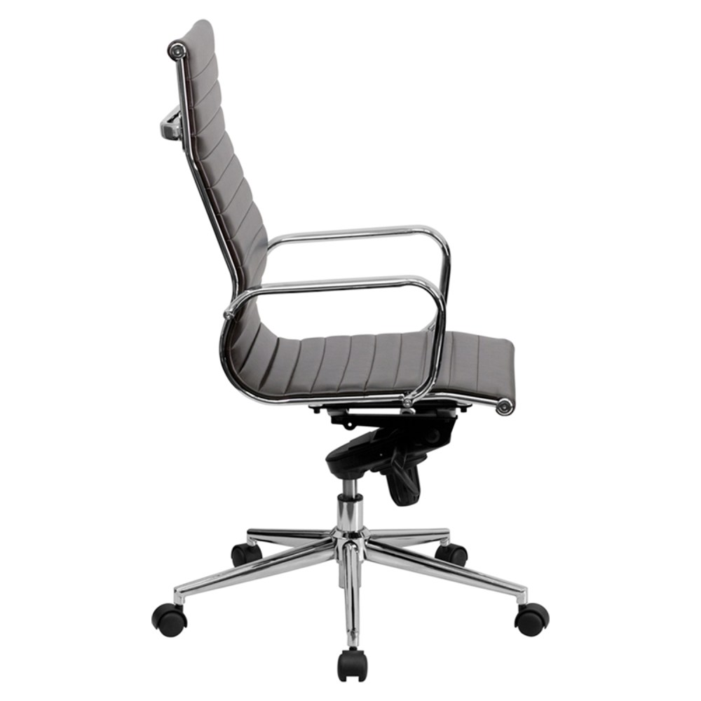 Ribbed Leather Executive Office Chair  High Back Swivel