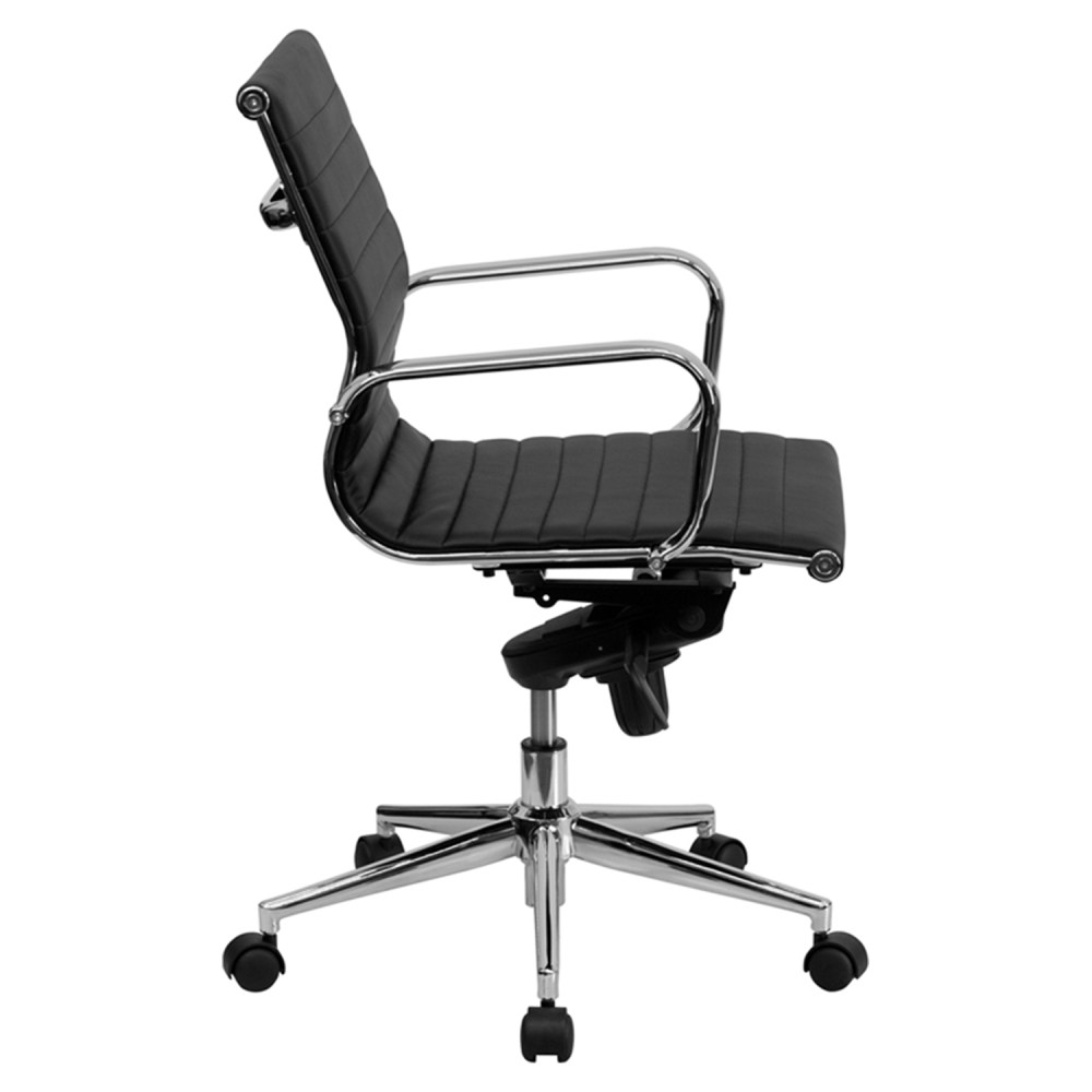 Ribbed Leather Swivel Conference Chair  Mid Back Black