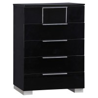 Hailey Bedroom Set in High Gloss Black