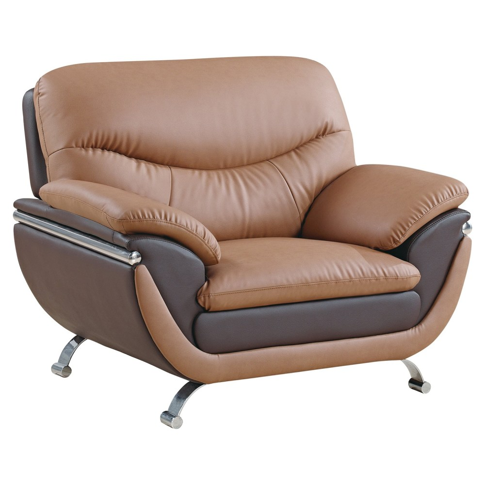 Chair  Light Brown and Dark Brown Leather Chrome Legs