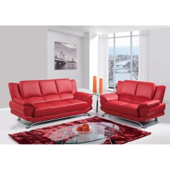 Rosso Red Leather 3 Piece Sofa Set Striped Living Room Ideas Jesus Dcg Stores