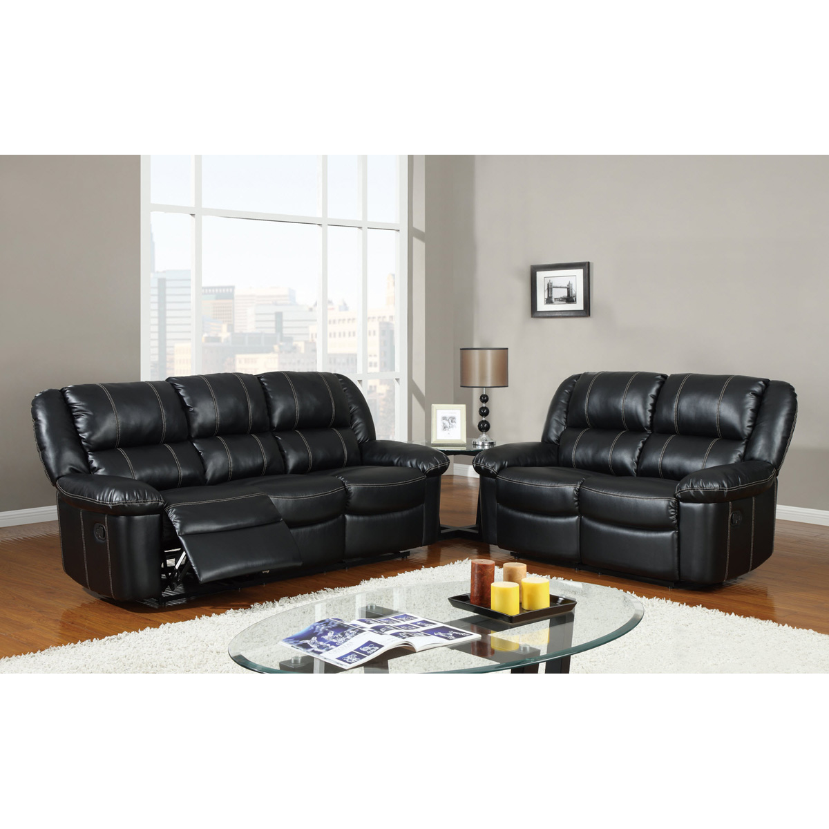 Jocelyn Reclining Sofa Set In Black Leather