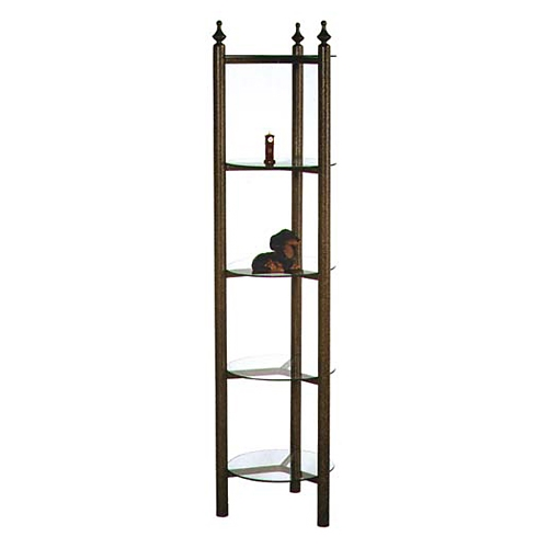 metal kitchen carts shelf unit curio style wrought iron display rack - 5 round glass ...