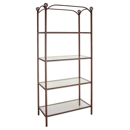 Wrought Iron Display Unit  4 Rectangular Glass Shelves