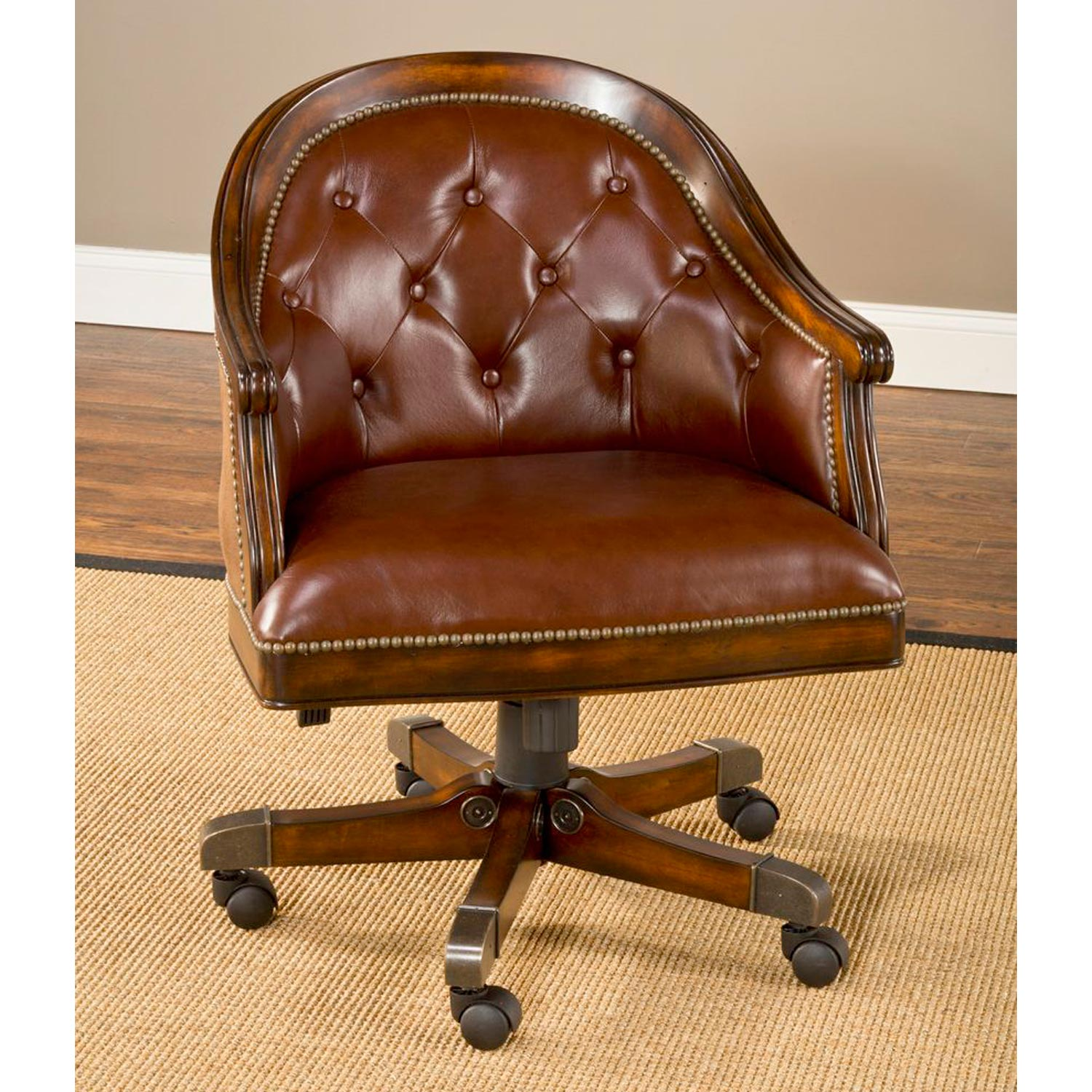 wood desk chair no wheels renting chairs and tables harding game table set brown leather rich cherry