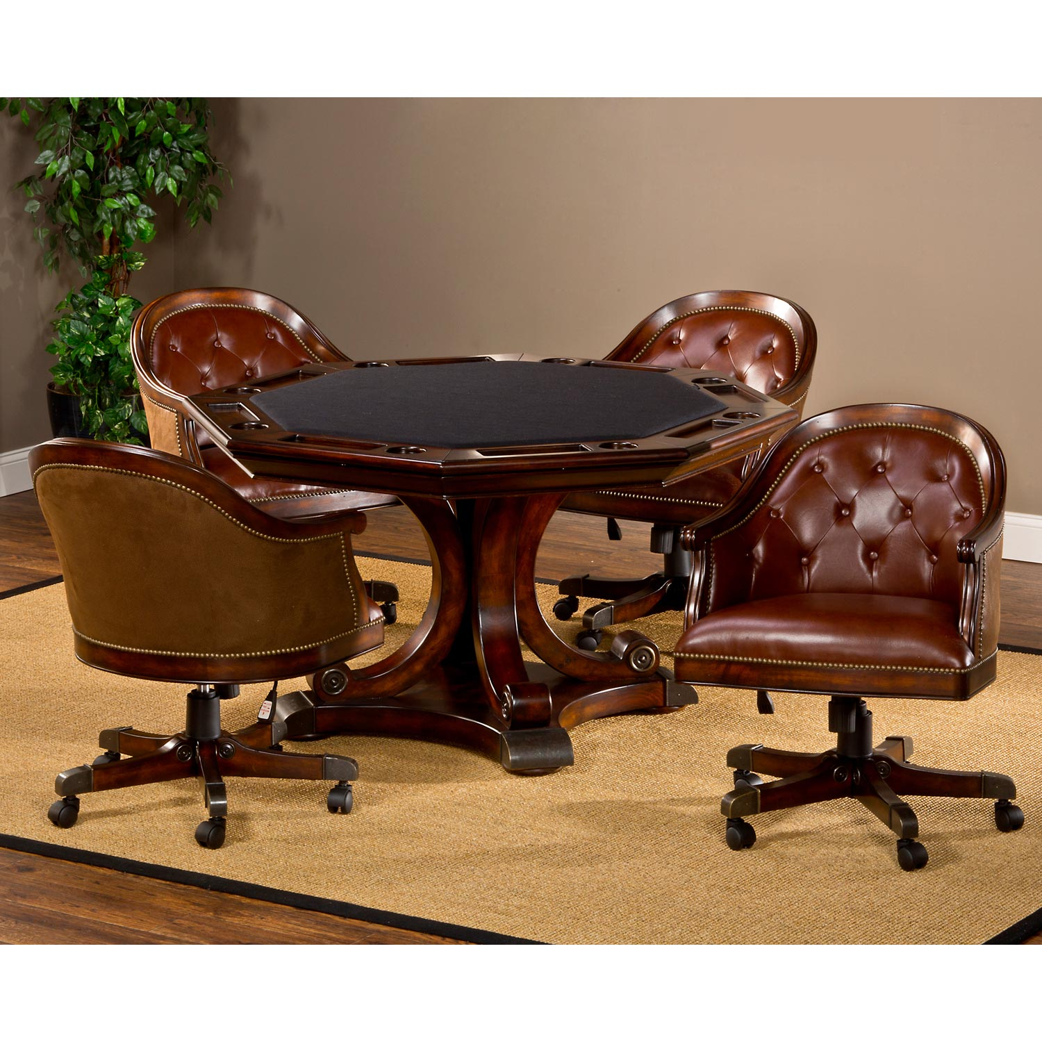 Harding Game Table Set  Brown Leather Chairs Rich Cherry