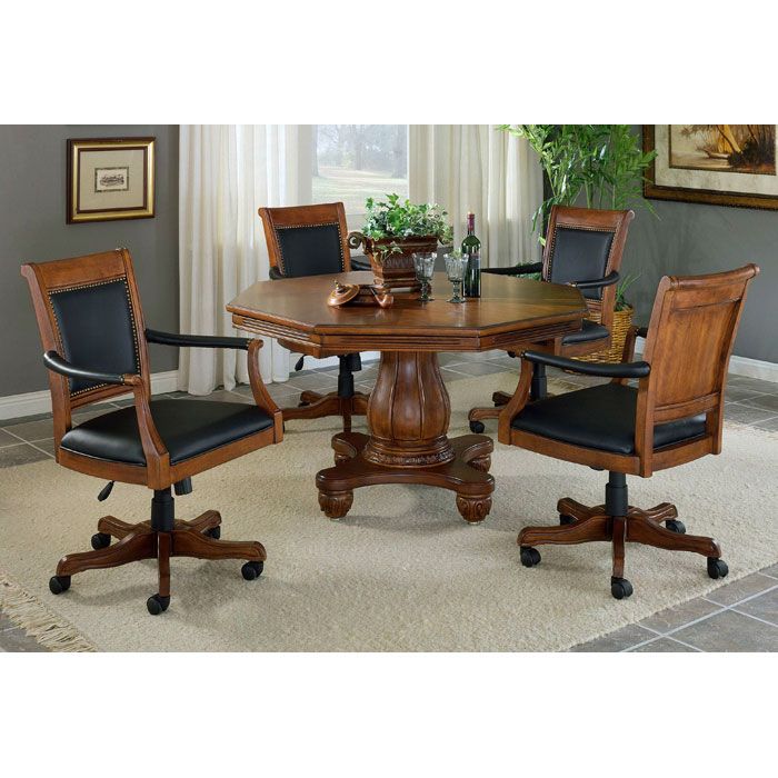 chairs on casters back support for office kingston 5 piece game set with leather dcg stores hill 6004gtbc