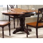 Cyrus Extending Dining Table Round Top Pedestal Base Two Tone Dcg Stores