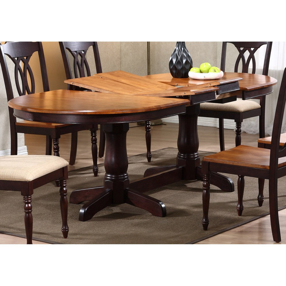 Gatsby Oval Dining Table  Double Butterfly Leaf Whiskey