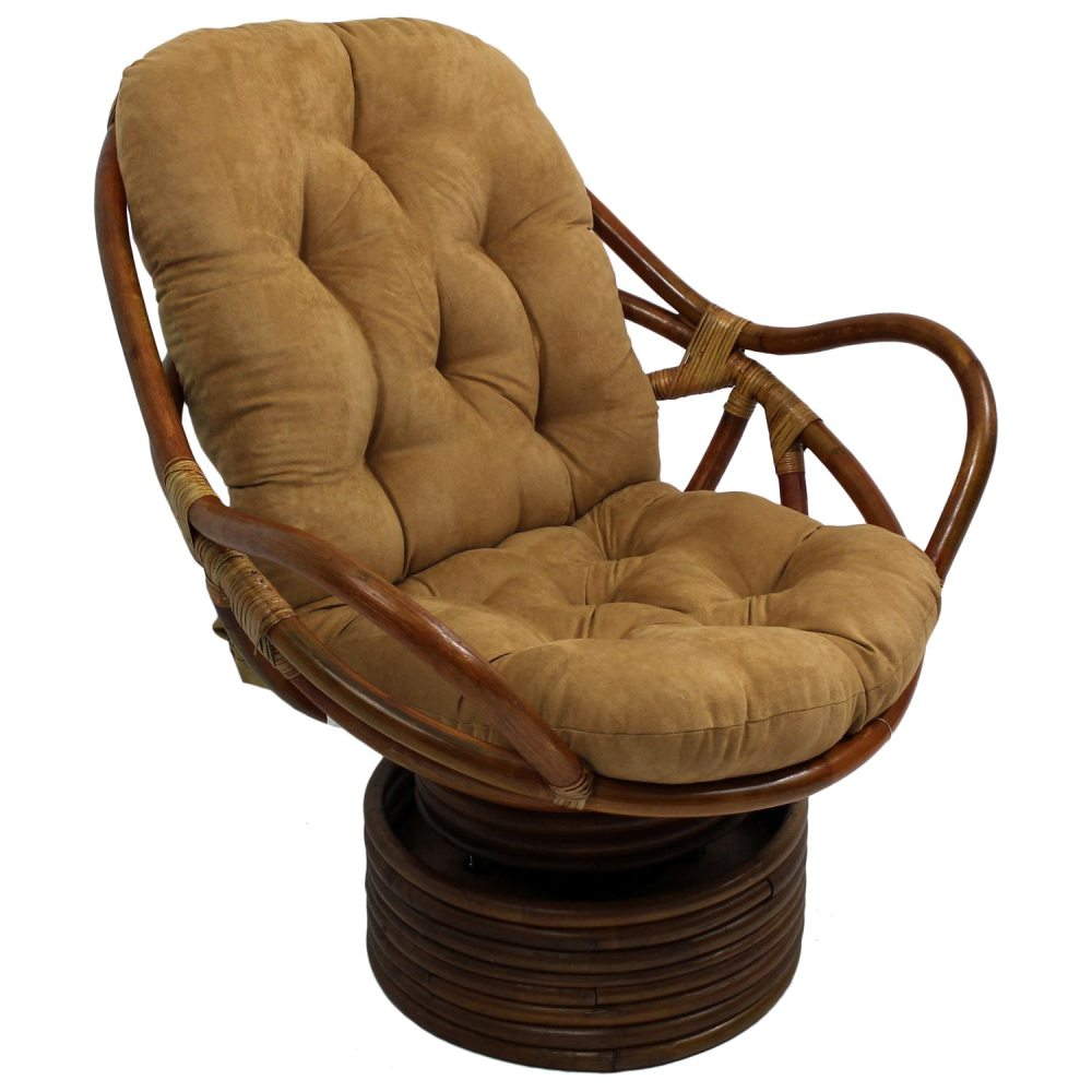 Bali Rattan Swivel Rocker Chair  Tufted Microsuede Cushion  DCG Stores