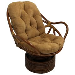Swivel Chair Cushions Yoga Routines Bali Rattan Rocker Tufted Microsuede