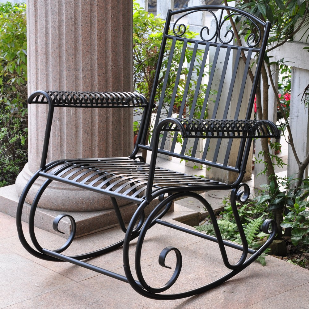 Tropico Wrought Iron Patio Rocker Chair In Black Dcg Stores