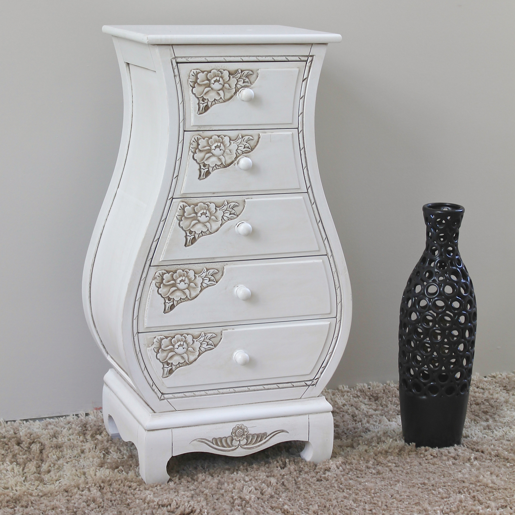kitchen bistro sets franke faucets antique white bombay chest - 5 drawers | dcg stores