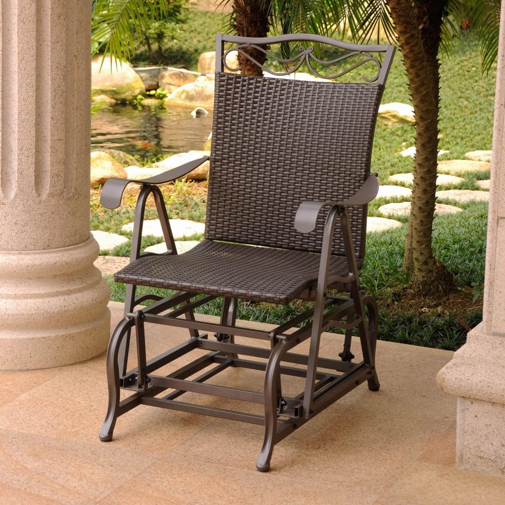 Valencia Resin Wicker Steel Single Patio Glider Chair