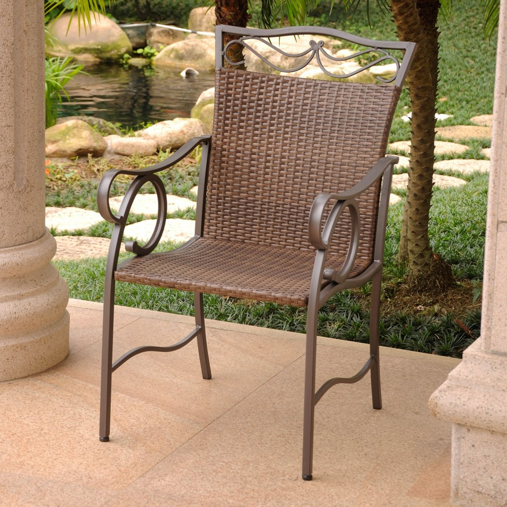 Valencia Patio Dining Chair - Antique Brown Resin Wicker