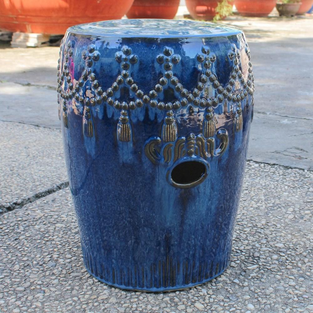 Catalina Tasseled Drum Garden Stool - Navy Blue Dcg Stores