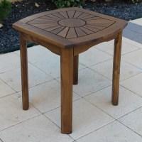 Sunburst Wooden Patio Side Table | DCG Stores