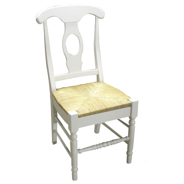 White Dining Chair With Rush Seat  DCG Stores
