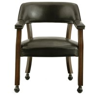 Vinyl Upholstered Dining Chair with Casters