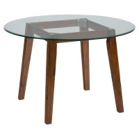 "Plantation 48"" Round Dining Height Table - Glass Top 