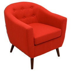 Red Tufted Dining Chair Vintage Leather And Ottoman Rockwell Upholstery Armchair Button Dcg Stores