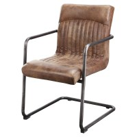 Ansel Leather Arm Chair - Light Brown (Set of 2) | DCG Stores