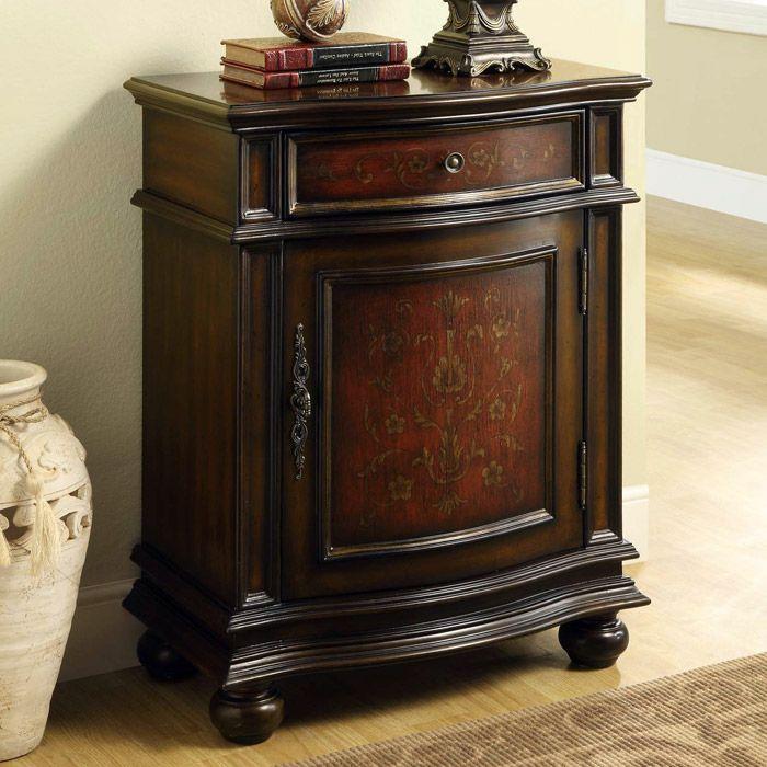 Fleming Tall Nightstand  Cherry 1 Drawer 1 Cabinet