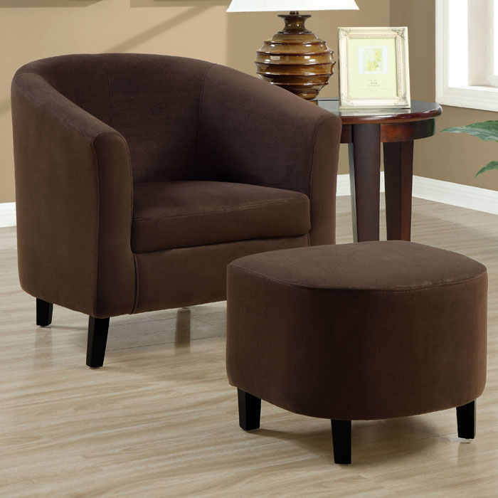 microfiber club chair with ottoman thinking for sale laplace armchair and set chocolate brown dcg mnrh i 8056