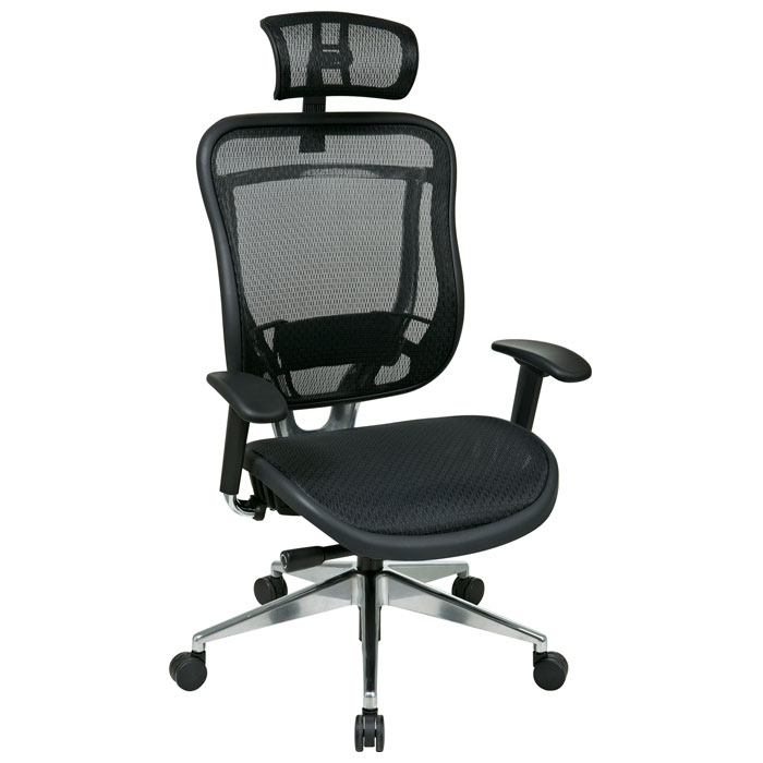 executive mesh office chair folding bar india space seating 818a series with adjustable headrest osp