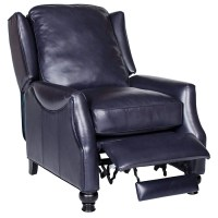Charles Recliner Chair - Turned Feet, Baron Navy Leather ...