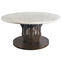 """48"""" Round Chat Table - Mosaic Top, Rattan Weave, Cast ..."""