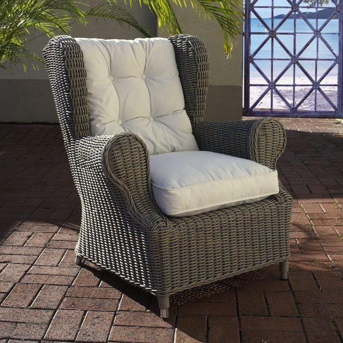 wicker wingback chairs sleeper chair outdoor white fabric cushion gray dcg stores