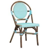 Paris Bistro Chair - Brown Rattan Frame, Blue (Set of 2 ...