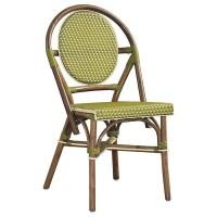 Paris Bistro Chair - Brown Rattan Frame, Green (Set of 2 ...