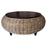 Paradise Round Coffee Table - Wood Top, Gray Kubu Wicker ...