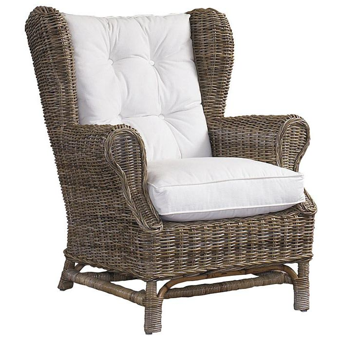 Wingback Lounge Chair  White Cushion Gray Kubu Wicker