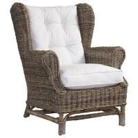 Wingback Lounge Chair - White Cushion, Gray Kubu Wicker ...