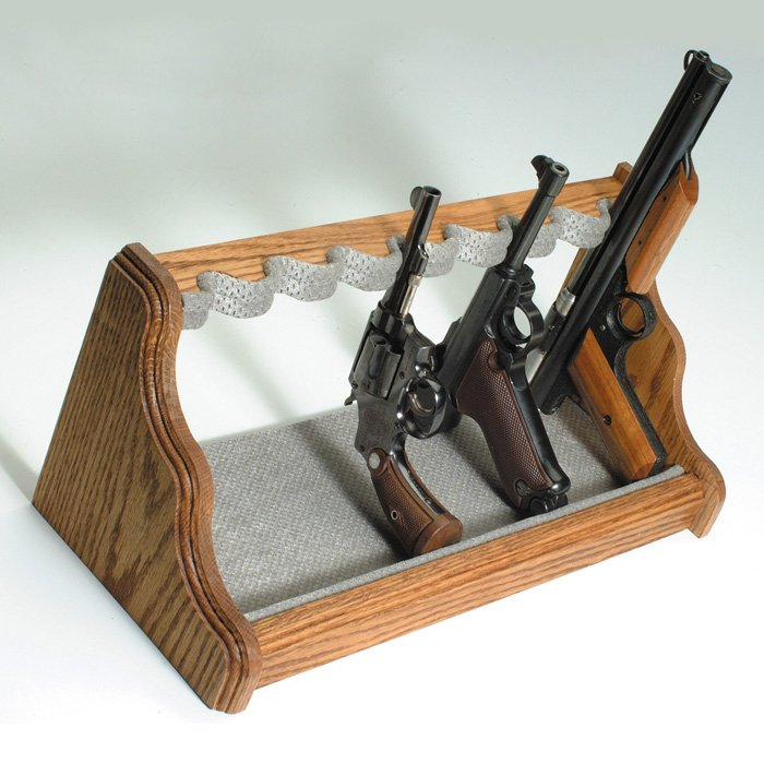 8Gun Oak Wood Pistol Rack  Velour Fabric  DCG Stores