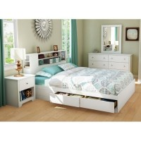 Vito Queen White Bedroom Set with Bookcase Bed | DCG Stores