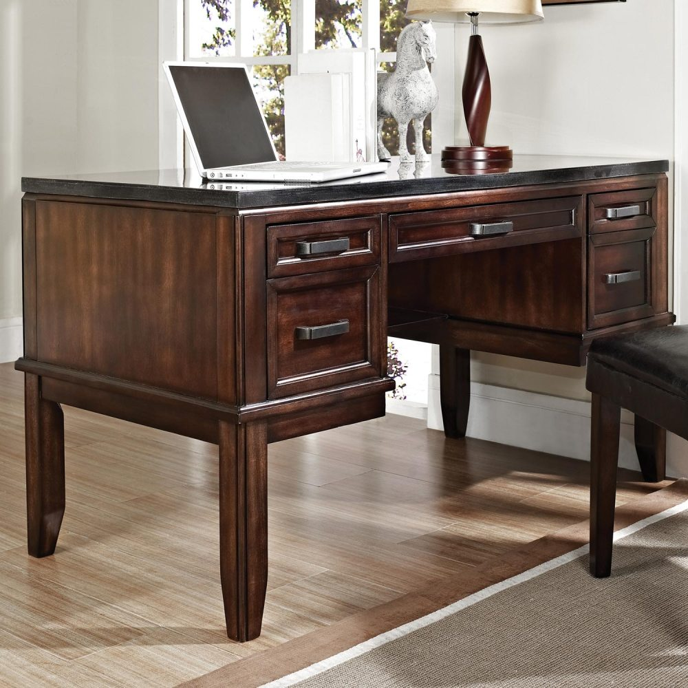 Chamberlain Writing Desk  Black Top Dark Cherry Wood