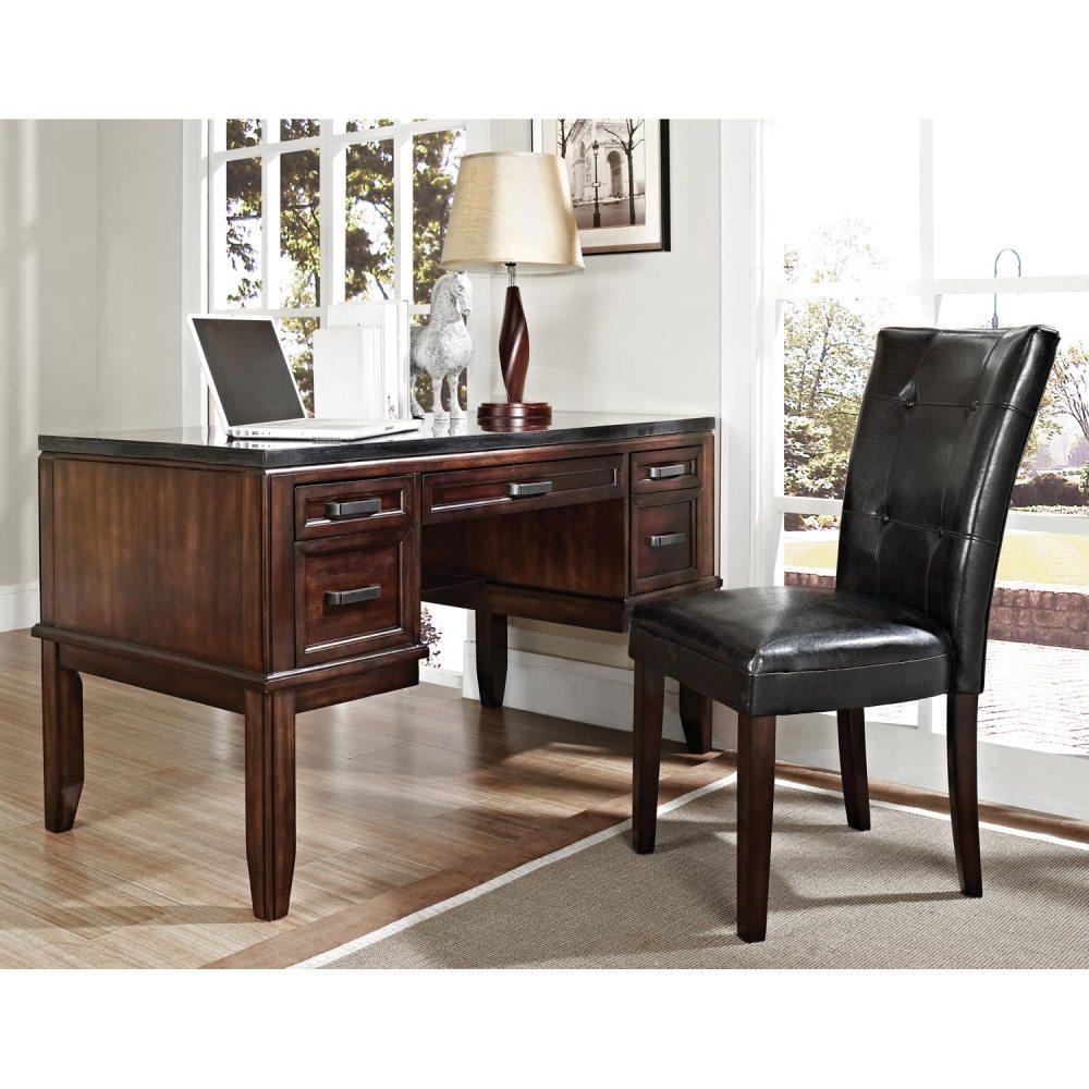 Chamberlain Writing Desk  Black Top Dark Cherry Wood