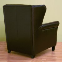 Tobias Dark Brown Leather Club Chair and Ottoman | DCG Stores