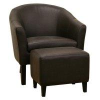 Tiptyn Espresso Brown Leather Club Chair and Ottoman | DCG ...